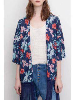 Floral Print Half Sleeve Kimono - Purplish Blue L
