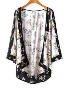 Flowers Print Long Sleeve Kimono - White And Black L