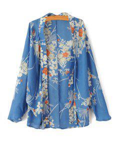 Floral Print Long Sleeve Kimono - Blue L
