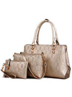 Elegant Embossing And Solid Color Design Women's Tote Bag - Golden