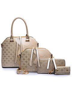 Color Block Metallic Handbag Set - Golden