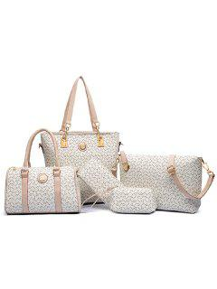 Elegant Arrow Print And PU Leather Design Women's Shoulder Bag - Off-white