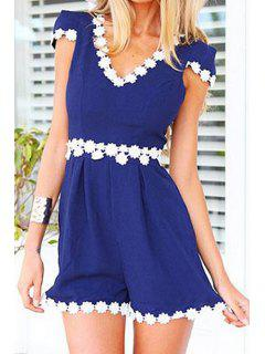 White Floral Lace Splicing Short Sleeve Romper - Blue S