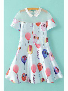 Balloon Print Short Sleeve A Line Dress - White M