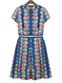 Argyle Print Ruffle Short Sleeve Dress - Blue L