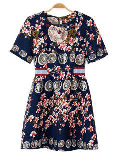 Figure Floral Print Short Sleeve Dress - Purplish Blue L