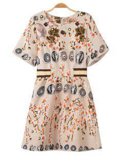 Figure Floral Print Short Sleeve Dress - Yellowish Pink S