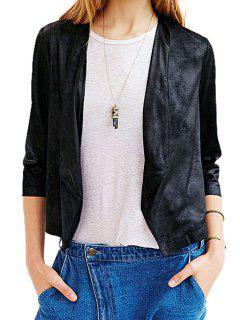 Black PU Leather 3/4 Sleeve Coat - Black Xs