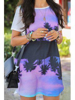 Scoop Neck Floral Print Mini Dress - Purple S