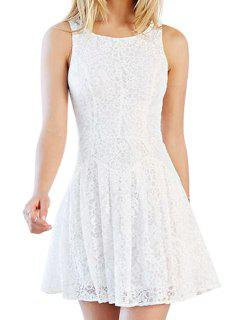Solid Color A Line Lace Sundress - White Xs