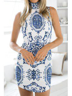 Mandarin Collar Blue And White Porcelain Dress - Blue And White S