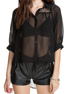 Black Half Sleeve See-Through Shirt - Black Xs