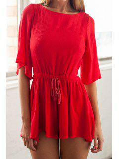 Red Half Sleeve Backless Romper - Red L