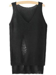 Solid Color Hole High Low Sleeveless Sweater - Black