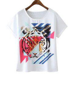 Tiger Print Scoop Collar T-Shirt - White M
