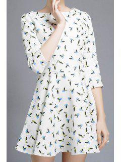 Full Birds Print 3/4 Sleeve Dress - White Xl