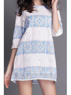 Blue Floral Lace Edging Half Sleeve Dress - White Xl