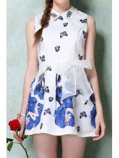 Turn-Down Collar Butterfly Print Voile Tie-Up Dress - S