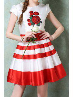Red Floral Print Stripe Ruffle Short Sleeve Dress - Red With White S