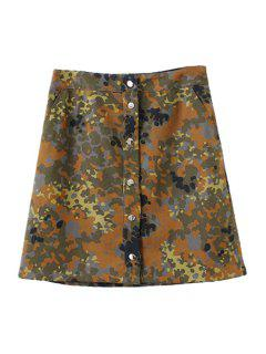 Camouflage Print A Line Skirt - Bronze-colored S