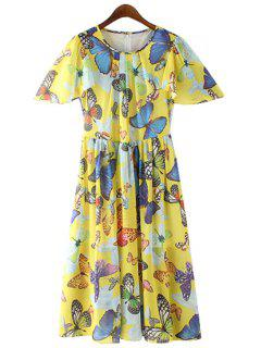 Jewel Neck Butterfly Print Ruffle Dress - Yellow S