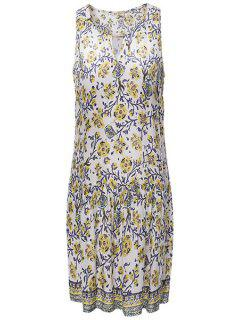 Full Floral Print Drop Waist Dress - White L