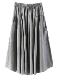 Solid Color Pocket Elastic Waist Long Skirt - Gray
