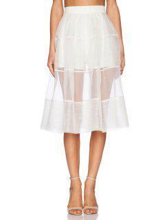 White See-Through High Waisted Skirt - White M