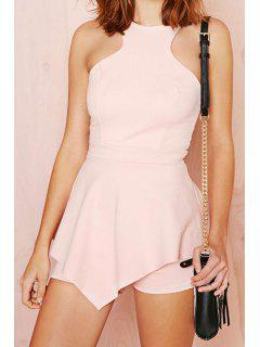 Solid Color Ruffles Sleeveless Romper - Pink 2xl