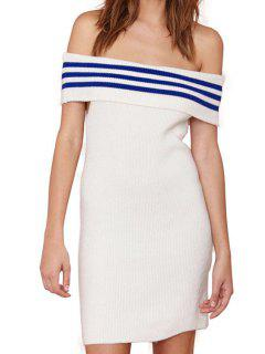 Striped Spliced Slash Neck Sweater Dress - White S