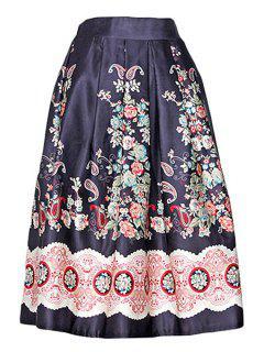 Vintage Print A Line Midi Skirt - Black