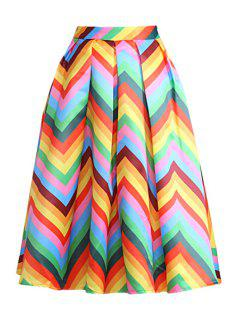 Zig Zag Print A Line Midi Skirt - Yellow L