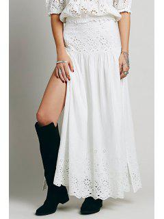 High-Waisted Lace Spliced Hollow Out Rufflled Maxi Skirt - White M