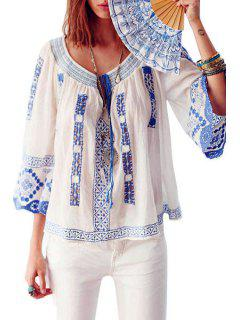 Scoop Neck Blue And White Porcelain Embroidery Blouse - Blue