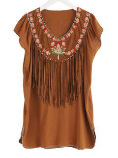 V-Neck Flower Embroidery Tassels Spliced Dress - Camel M