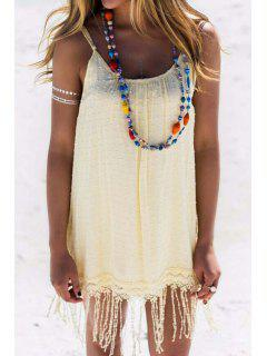 Solid Color Spaghetti Strap Tassels Dress - Light Yellow Xl