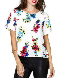 Floral Print Backless Short Sleeve T-Shirt - White S
