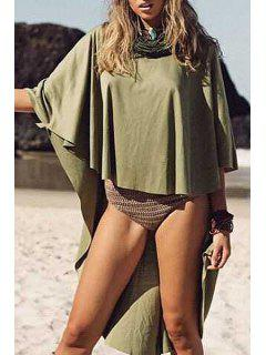 Batwing Sleeve Solid Color High-Low Hem Blouse - Green Xl