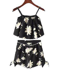 Spaghetti Strap Floral Print Tank Top + Bowknot Shorts - Black S