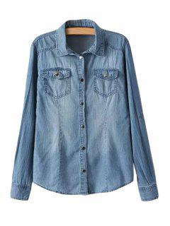 Pocket Bleach Wash Denim Long Sleeve Shirt - Ice Blue S