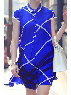 Checked Print Turn-Down Collar Dress - Blue M