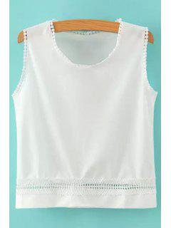 Hollow Solid Color Tank Top - White M