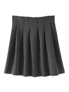 Striped High Waisted A Line Skirt - Black S
