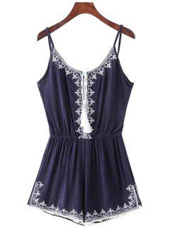 Spaghetti Strap Tie-Up Embroidery Sleeveless Romper - Blue M