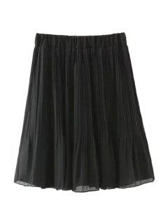 Pleated Solid Color Elastic Waisted Skirt - Black S