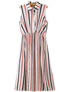 Stripes Turn-Down Collar Sleeveless Dress - Stripe S