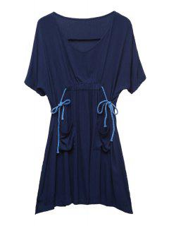 Side Slit Pockets Ruffle Half Sleeve Dress - Purplish Blue 2xl
