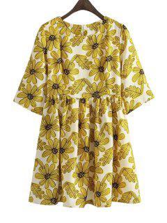 Yellow Floral Print Half Sleeve Dress - Yellow M