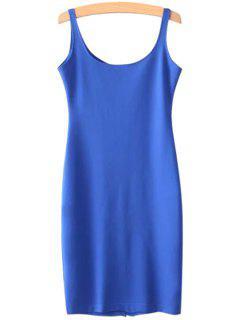 Solid Color Scoop Neck Sundress - Blue L