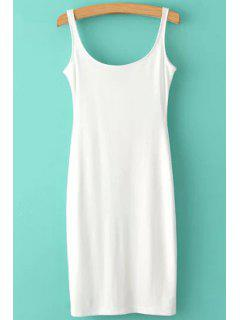 Solid Color Scoop Neck Sundress - White L